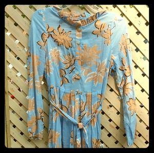 Blue long sleeve modest maxi dress